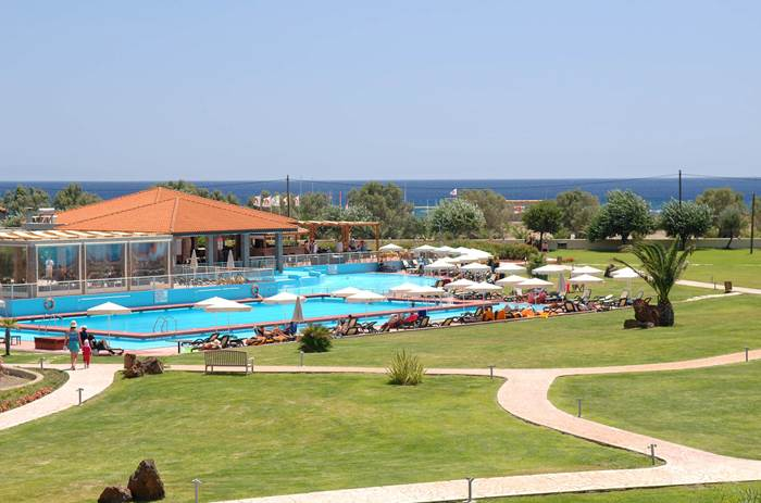 A view of the pool at Neilson Aeolian Beachclub resort in Lesvos, Greece