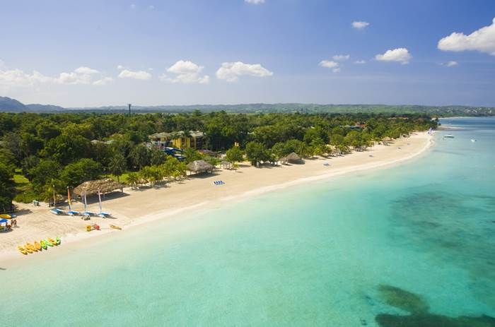 An aerial shot of Beaches Negril