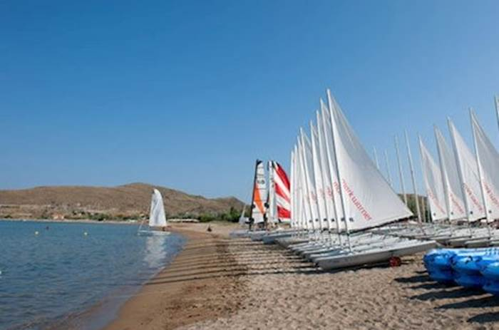 Sailing boats on the waterfront at Mark Warner Lemnos Beach Resort