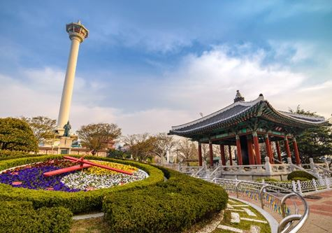 Busan Tower and Flower Clock - New - Scenic South Korea