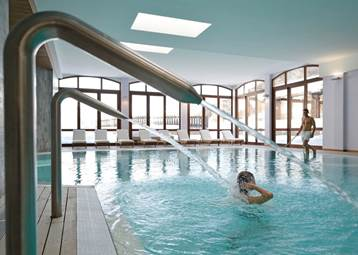 The indoor Swimming pool at the Club Med Pragelato Vialattea in the Italian Alps