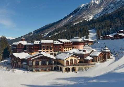 An exterior building shot of the Club Med Valmorel resort in France