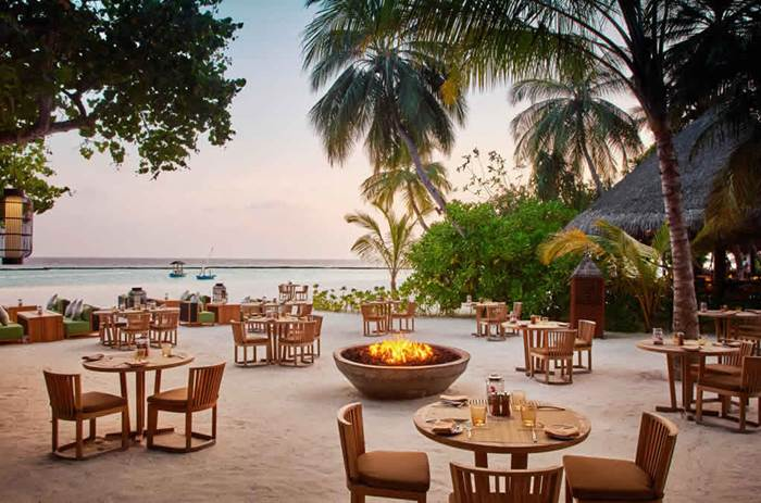 Dining on the beach at Constance Halaveli resort in the Maldives