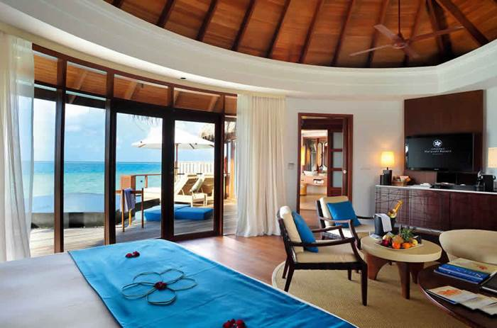 Inside a villa at the Kuoni Constance Halaveli in the Maldives