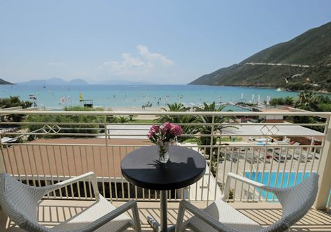 A view from the balcony over the Neilson Cosmos beachclub resort in Vasiliki, Greece