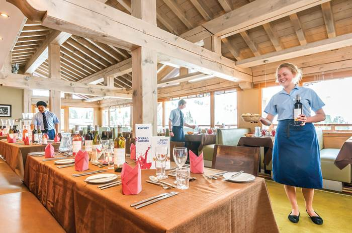 Dining at the Esprit Ski Chalet Hotel Deux Domaines