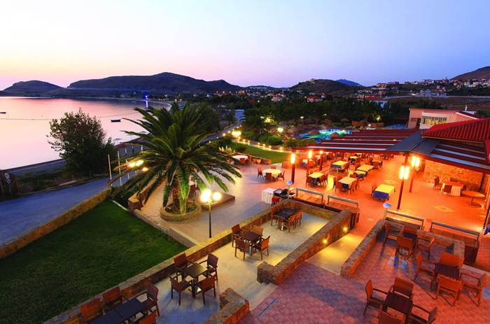 Exterior at night of Mark Warner Lemnos Beach Club in Greece