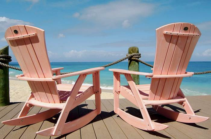Rocking chairs looking at the sea Galley bay resort Kuoni in Antigua
