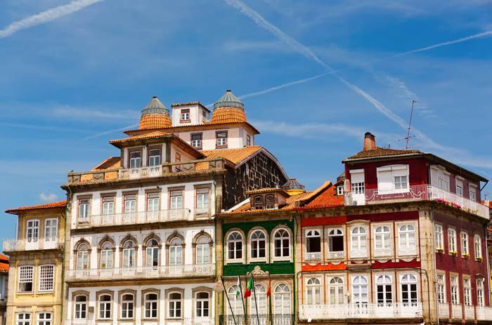 Colourful houses in Guimarães - Cox & Kings Porto & Douro valley Solo Tour