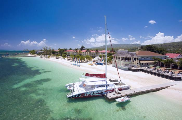 An aerial shot of Sandals Montego Bay