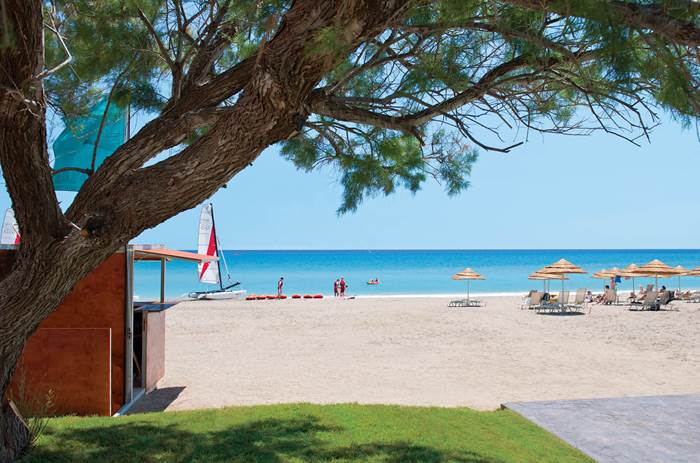 Beautiful waterfront and beach at Mark Warner Levante Beach Club in Rhodes