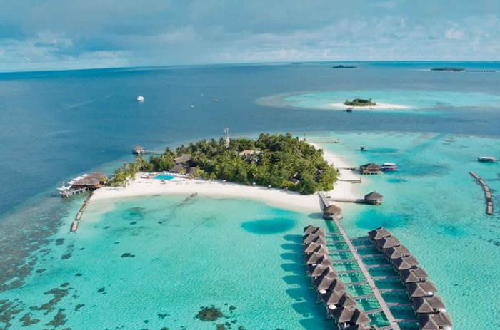 An aerial view of the island at Maafushivaru resort in the Maldives