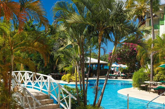The outdoor pool at Mango Bay resort in Barbados