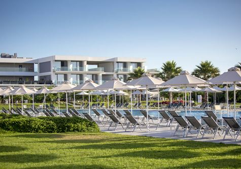 A view of the deckchairs by the poolside at Neilson Messini Beachclub in Greece
