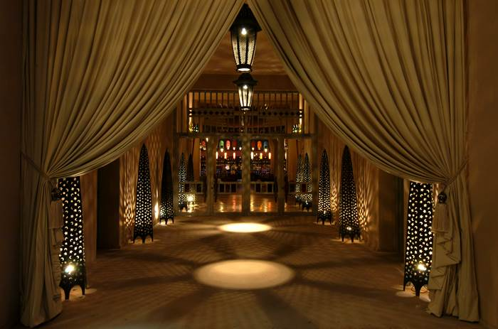 A beautiful candle lit hallway at Club Med Marrakech resort in Morrocco
