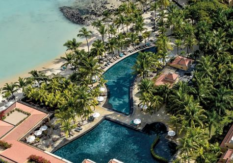 An aerial view of the Beachcomber Le Mauricia Hotel in Mauritius