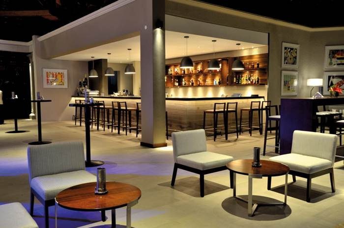 An indoor bar at Beachcomber Paradis Hotel & Golf Club in Mauritius