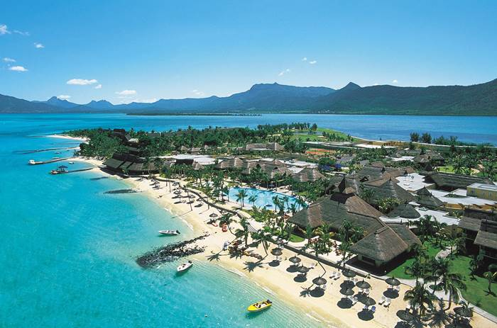 An aerial view of the resort at Beachcomber Paradis Hotel & Golf Club in Mauritius