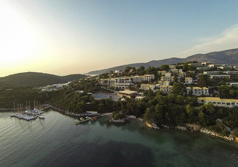An aerial view of the Neilson Retreat Beachclub in Sivota, Greece