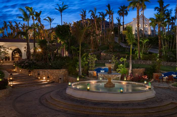 A fountain at the the One and Only Palmilla Hotel