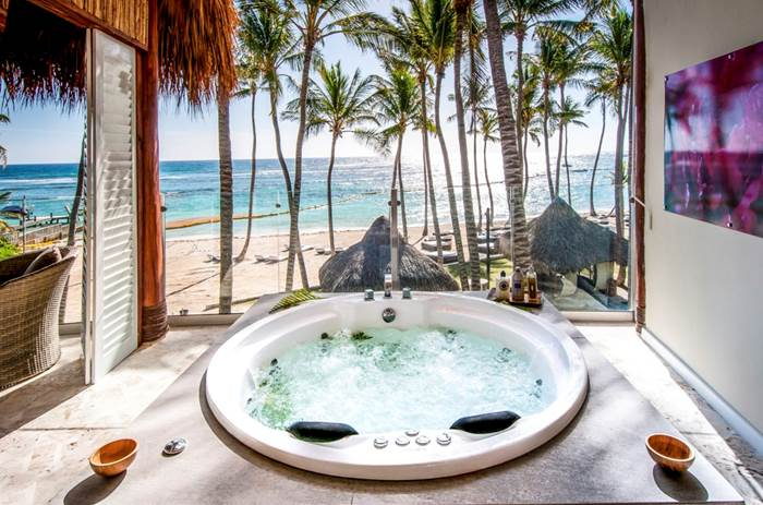 A Jacuzzi in a villa looking onto the beach at Club Med Punta Cana in the Dominican Republic