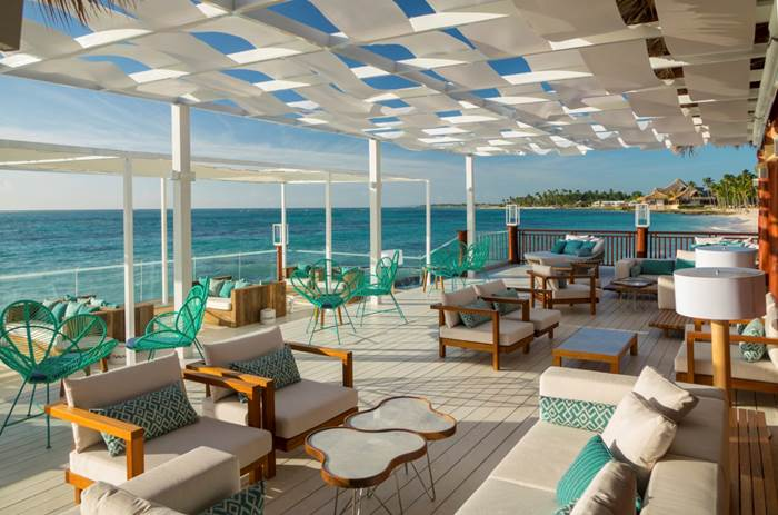 A restaurant overlooking the sea at Club Med Punta Cana in the Dominican Republic