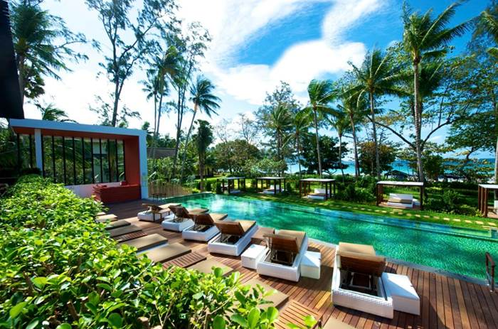 The pool and loungers at Club Med Phuket resort in Thailand