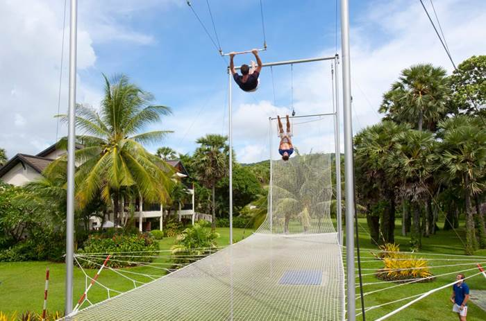 The trapeze lessons at Club Med Phuket resort in Thailand