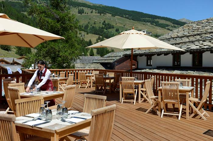 The decking at Club Med Pragelato Vialattea in Summer