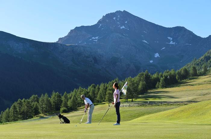 The golf course at Club Med Pragelato Vialattea in Summer