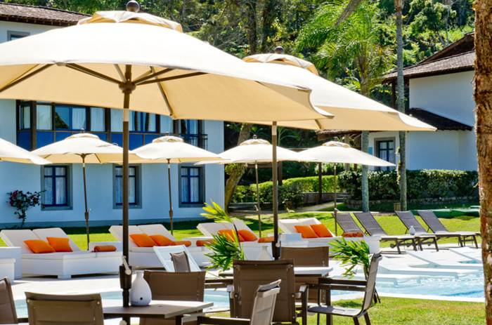 Sun loungers by the pool at Club Med Rio Das Pedras in Brazil