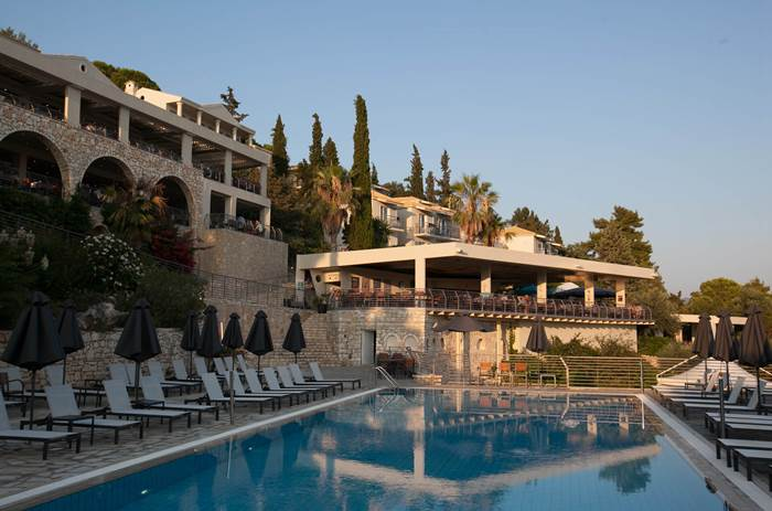 The resort and pool at Neilson Retreat Beachclub in Sivota, Greece