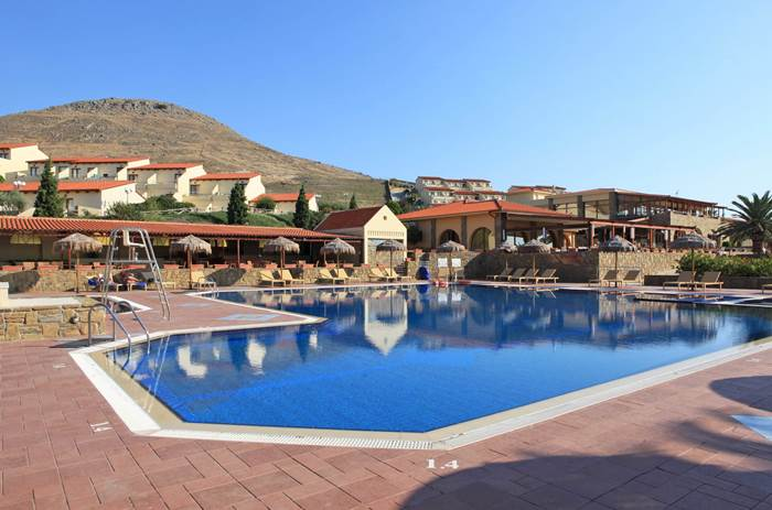 Centre view of swimming pool at Mark Warner Lemnos Beach Club in Greece