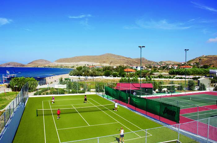 Tennis Courts at Mark Warner Lemnos Beach Club in Greece