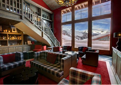 The resort lobby at the Club Med Valmorel in the French Alps