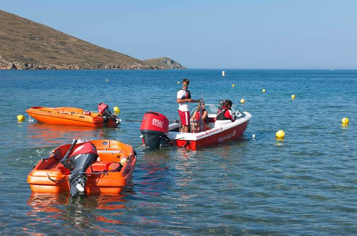 Speedboats on the waterfront at Mark Warner Lemnos Beach Resort in Greece